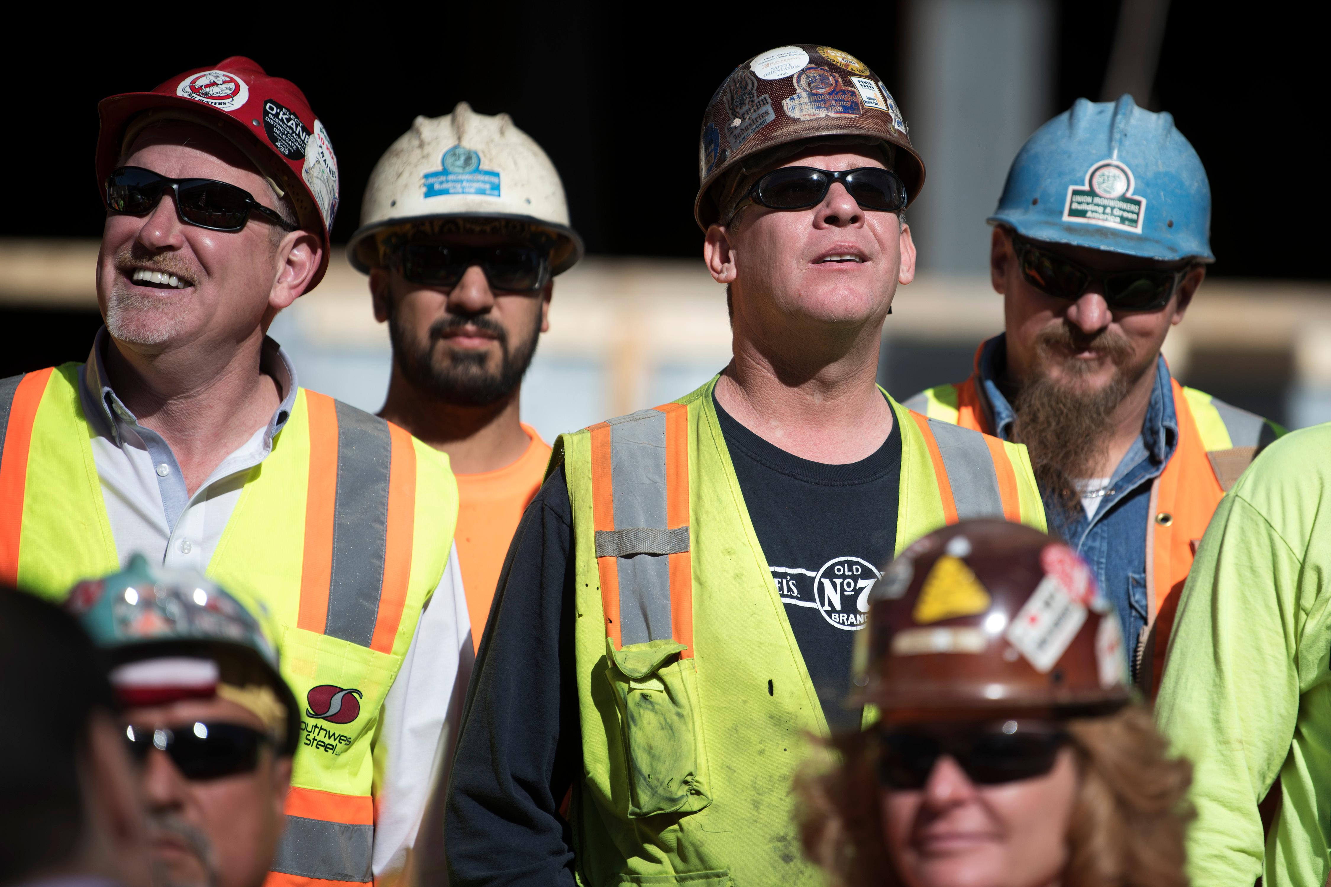 Iron workers wait for the final beam to be raised into place during the topping off ceremony for MGM Grand's expanded conference center Tuesday, January 30, 2018. CREDIT: Sam Morris/Las Vegas News Bureau