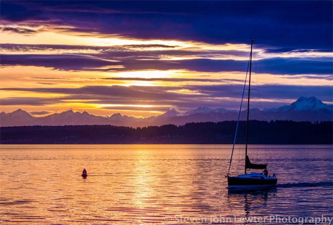 Sunset at Seattle's Shilshole Marina in Ballard. Photo taken by Steven Lewter of Ballard.