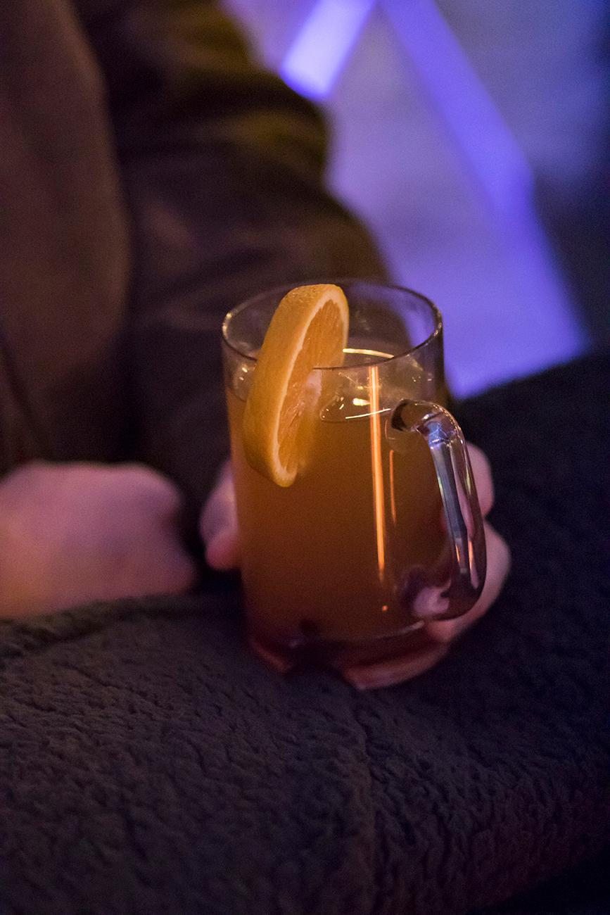 Spiked Cider: house made cider, whiskey, cinnamon, and garnished with an orange slice / Image: Allison McAdams // Published: 12.17.18