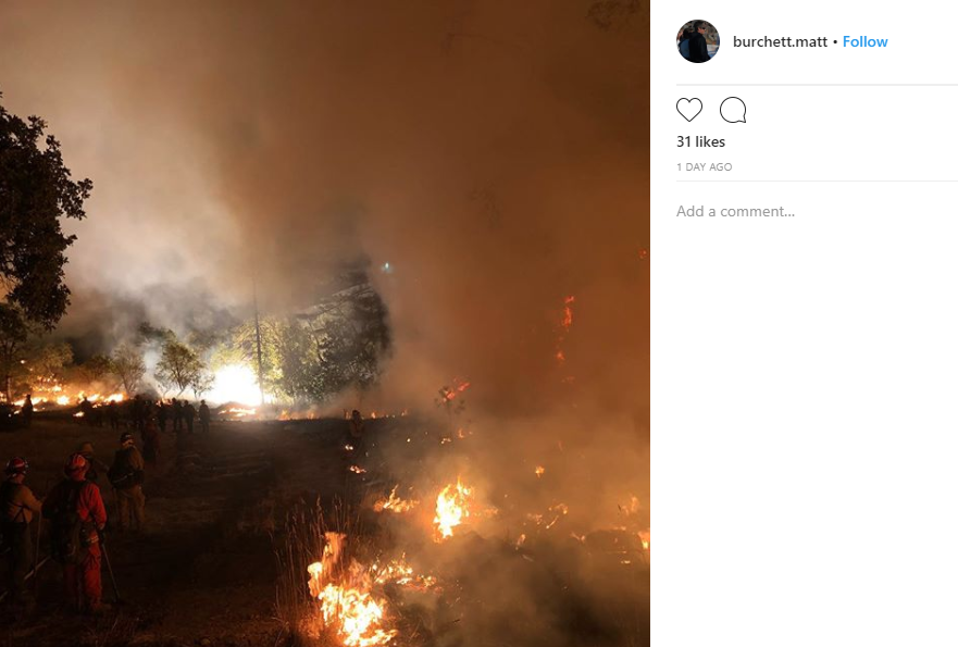 Draper Battalion Chief Matthew Burchett was killed while battling the Mendocino Complex Fire in Northern California. (Photo courtesy of Matt Burchett's Instagram){ }