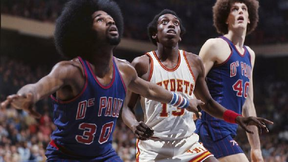 VMI's Ron Carter (13) during game against DePaul in the 1976 NCAA Tournament. (Photo courtesy VMI Archives)