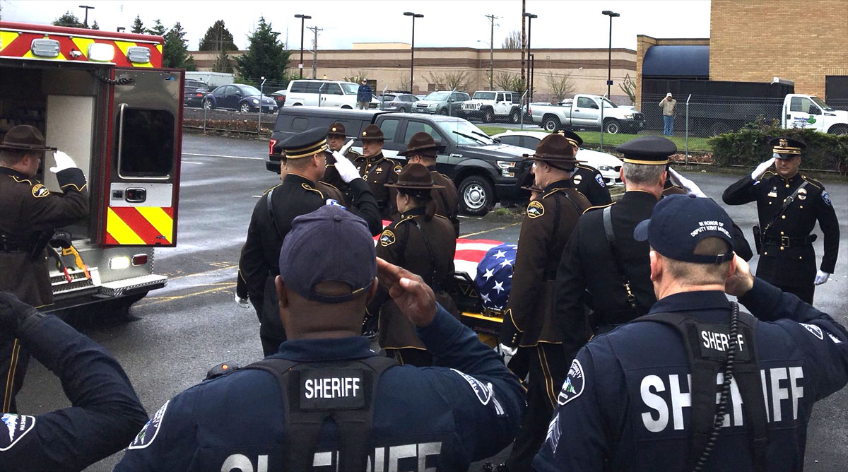 Dozens of law enforcement units escort an ambulance with the body of fallen Pierce County Sheriff's Deputy Daniel McCartney from the Medical Examiner's Office to a funeral home in Lakewood, Wash. on Tuesday, Jan. 9, 2018. (Photo: Pierce Co. Sheriff's Office)<p></p>