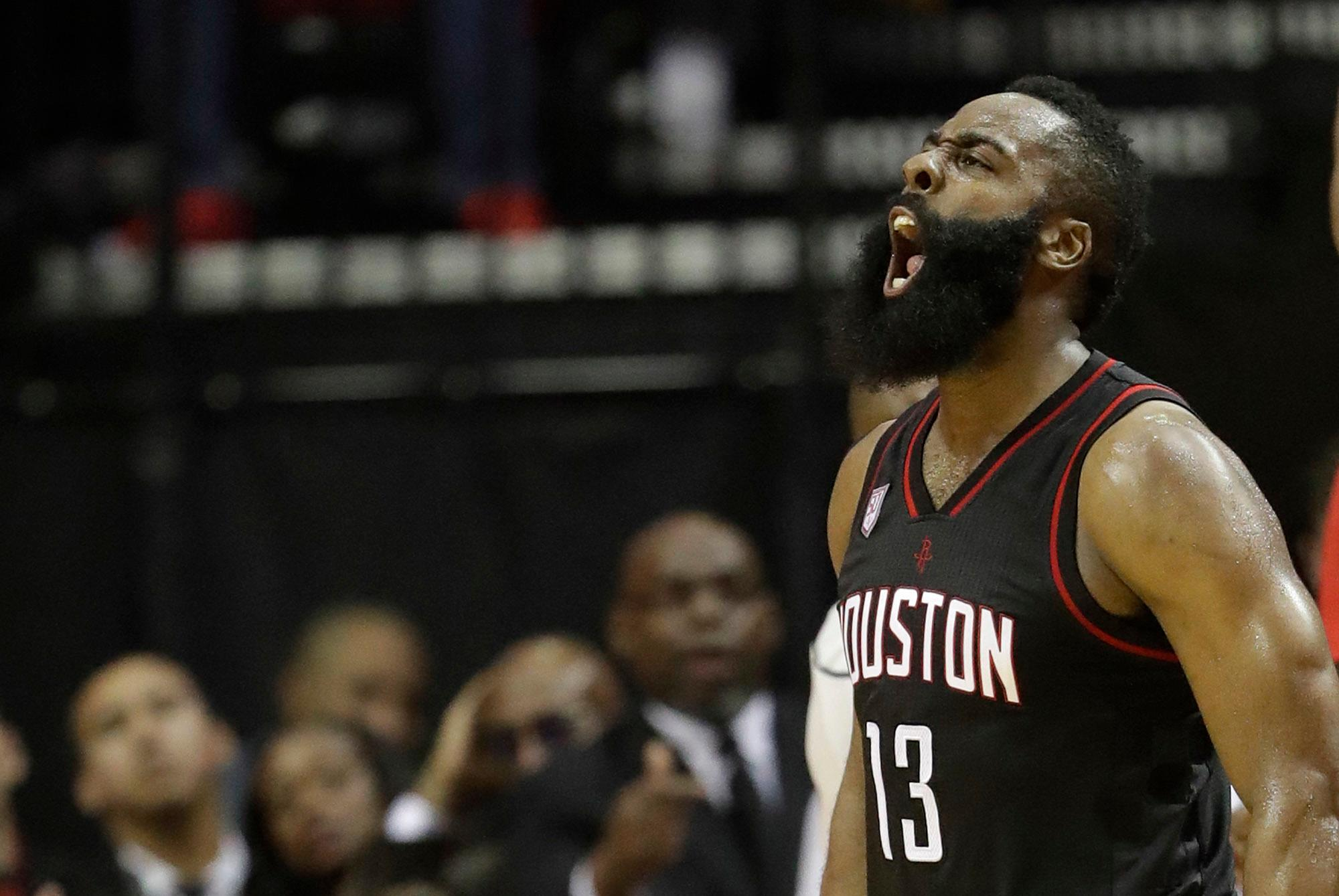Houston Rockets' James Harden yells after a Oklahoma City Thunder turnover during the second half in Game 1 of an NBA basketball first-round playoff series, Sunday, April 16, 2017, in Houston. (AP Photo/David J. Phillip)