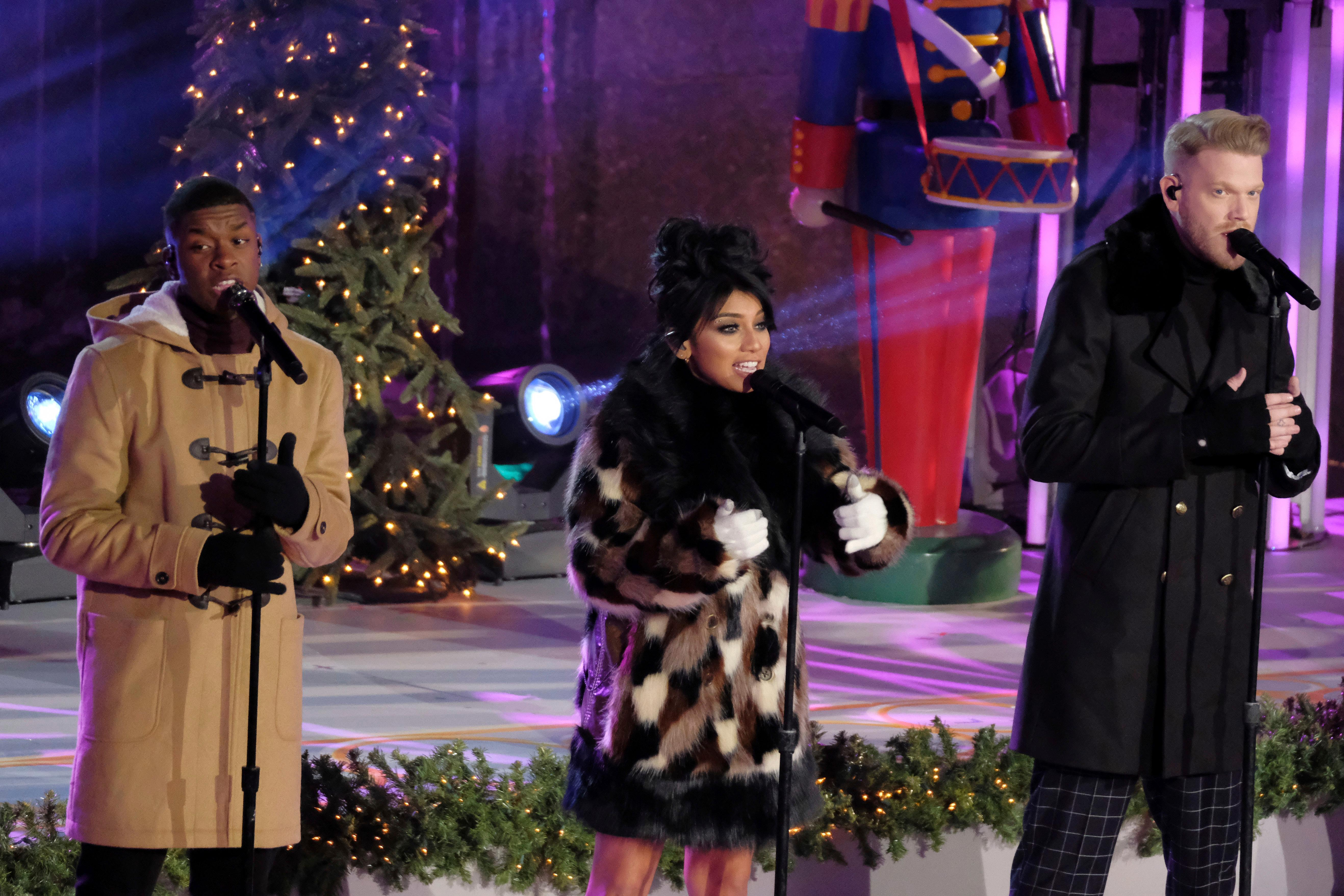 Christmas Tree Lighting Pentatonix Members, From Left, Matt Sallee, Kirstin