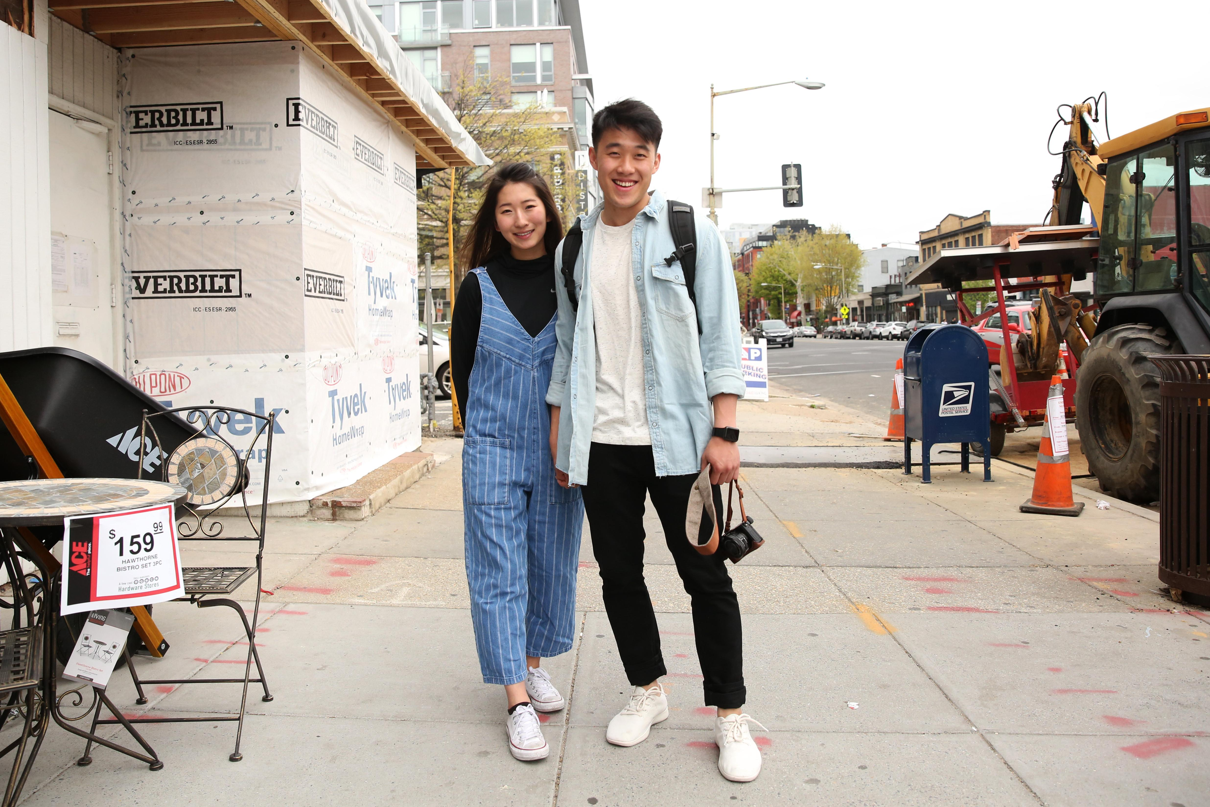 Adrienne Kim and Chang Dae Hahm both have great taste - check out that mockneck and jumpsuit!(Amanda Andrade-Rhoades/DC Refined)