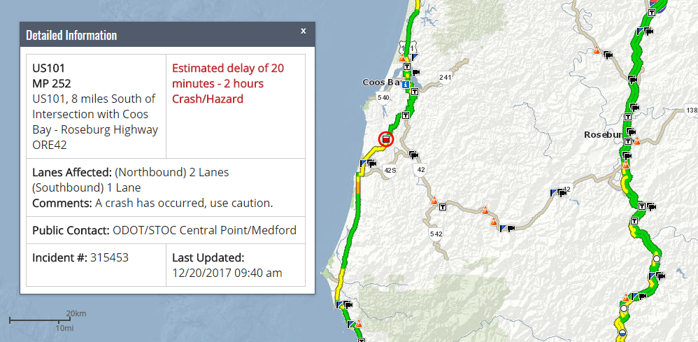 Oregon DOT TripCheck screen grab shows location of crash.<p></p>