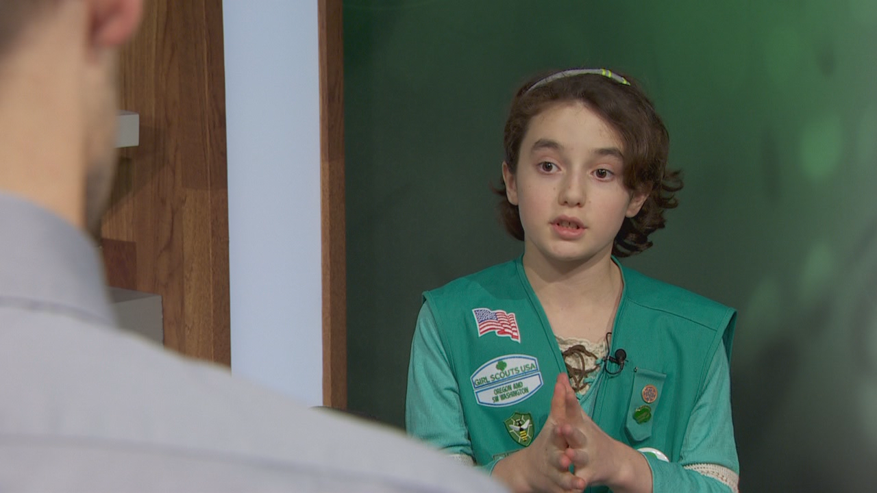 Girl Scout Sidra Cohen-Mallon pitches her special cookie campaign.