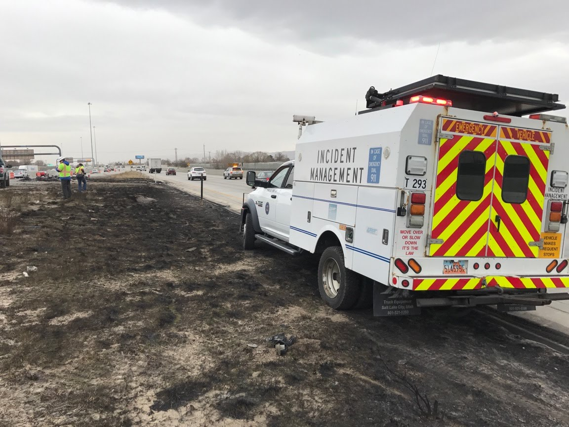 A double tanker hauling 10,000 gallons of diesel fuel caught fire Thursday night causing Interstate-15 closure and damage Utah Department of Transportation crews worked through the night to repair. (Photo: Tiffany Justice / KUTV)<p></p>