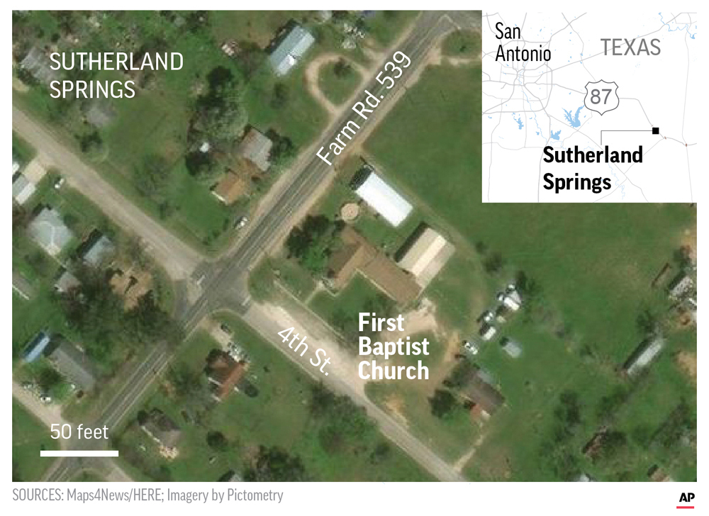 Satellite image of Sutherland Springs, First Baptist Church, Texas. ; 2c x 4 inches; 96.3 mm x 101 mm. (AP)<p></p>