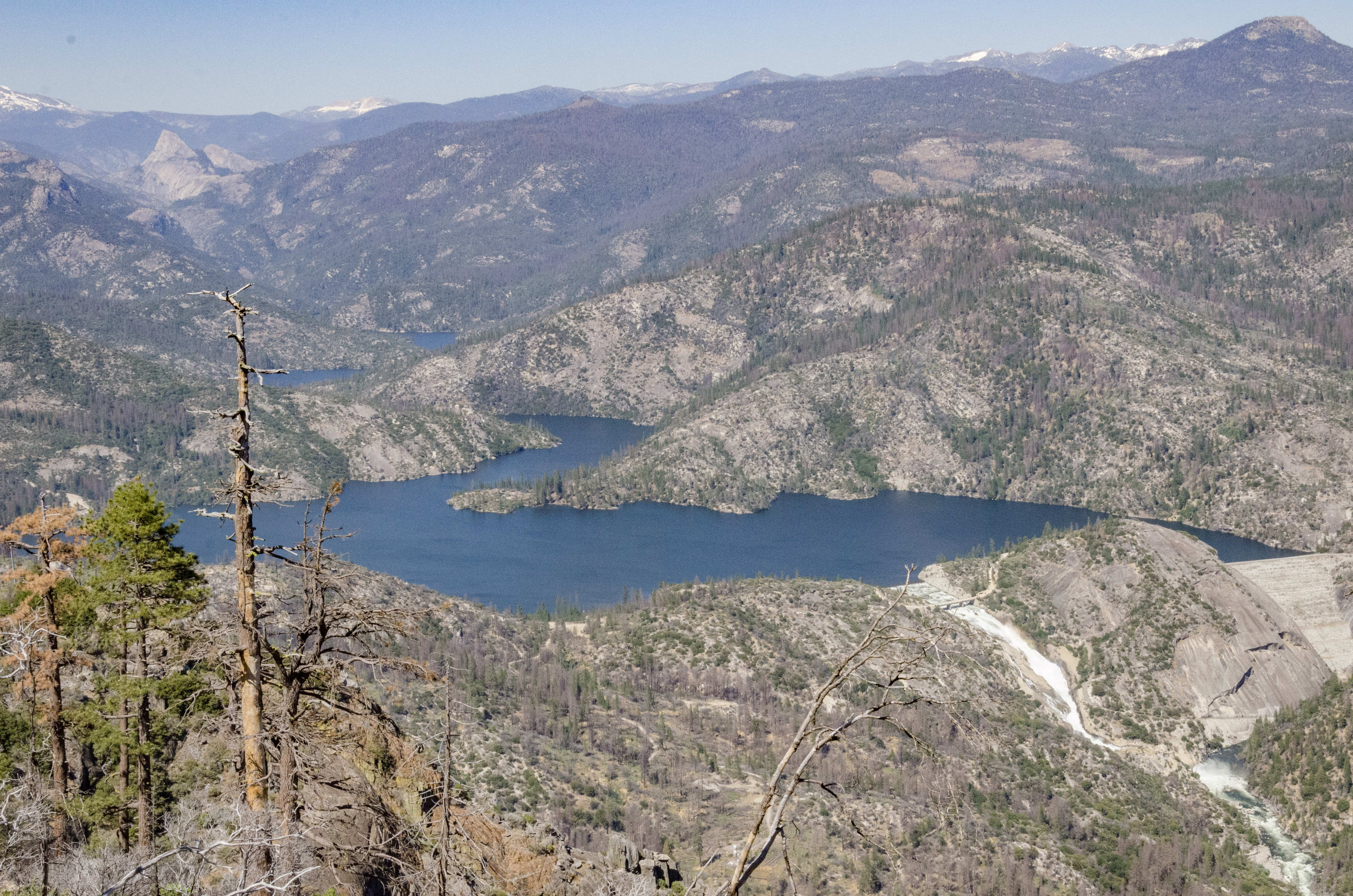 The panoramic view at Mile High includes Mammoth Pool Reservoir and the Minaret Range.