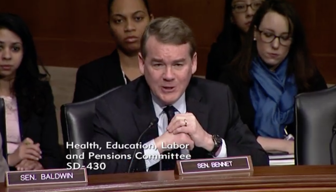 Senator Michael Bennet, D- Colo / Photo: Senate Committee on Health, Education, Labor and Pensions<p></p>