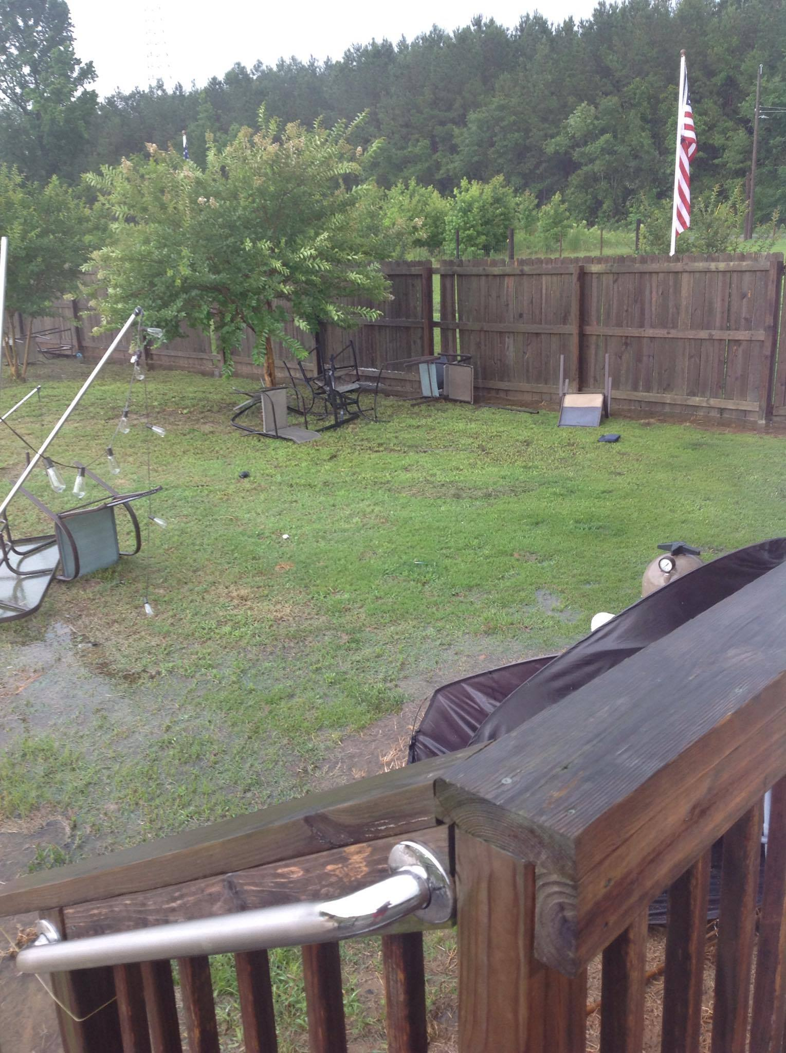 Strong winds from a storm caused damage to a home in Latta. (Photo from April Nuneville)