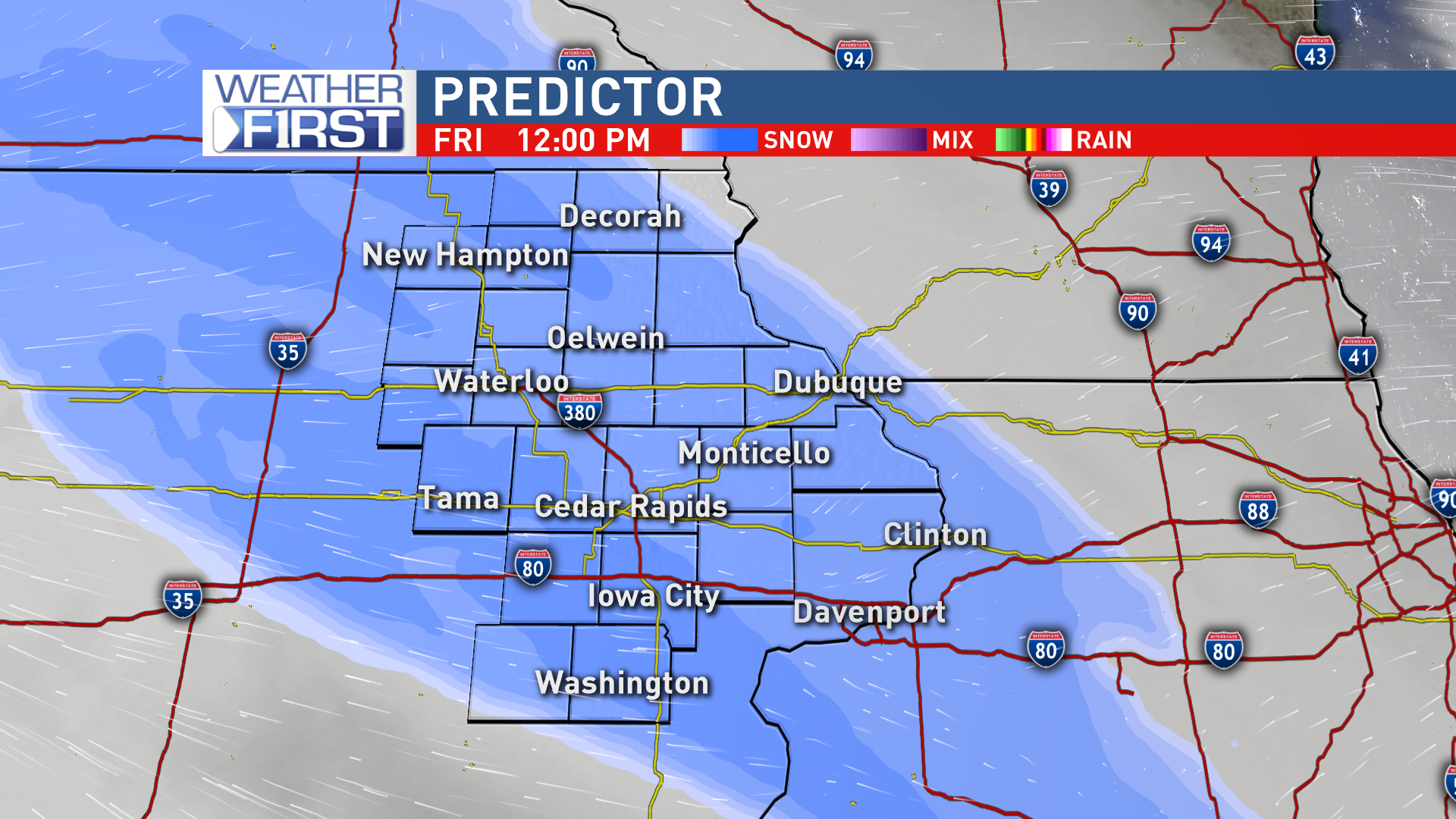 Snow moving through eastern Iowa Friday afternoon<p></p>