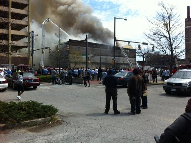 Thick smoke billows from a large building fire in downtown Birmingham on Friday, March 29, 2013.