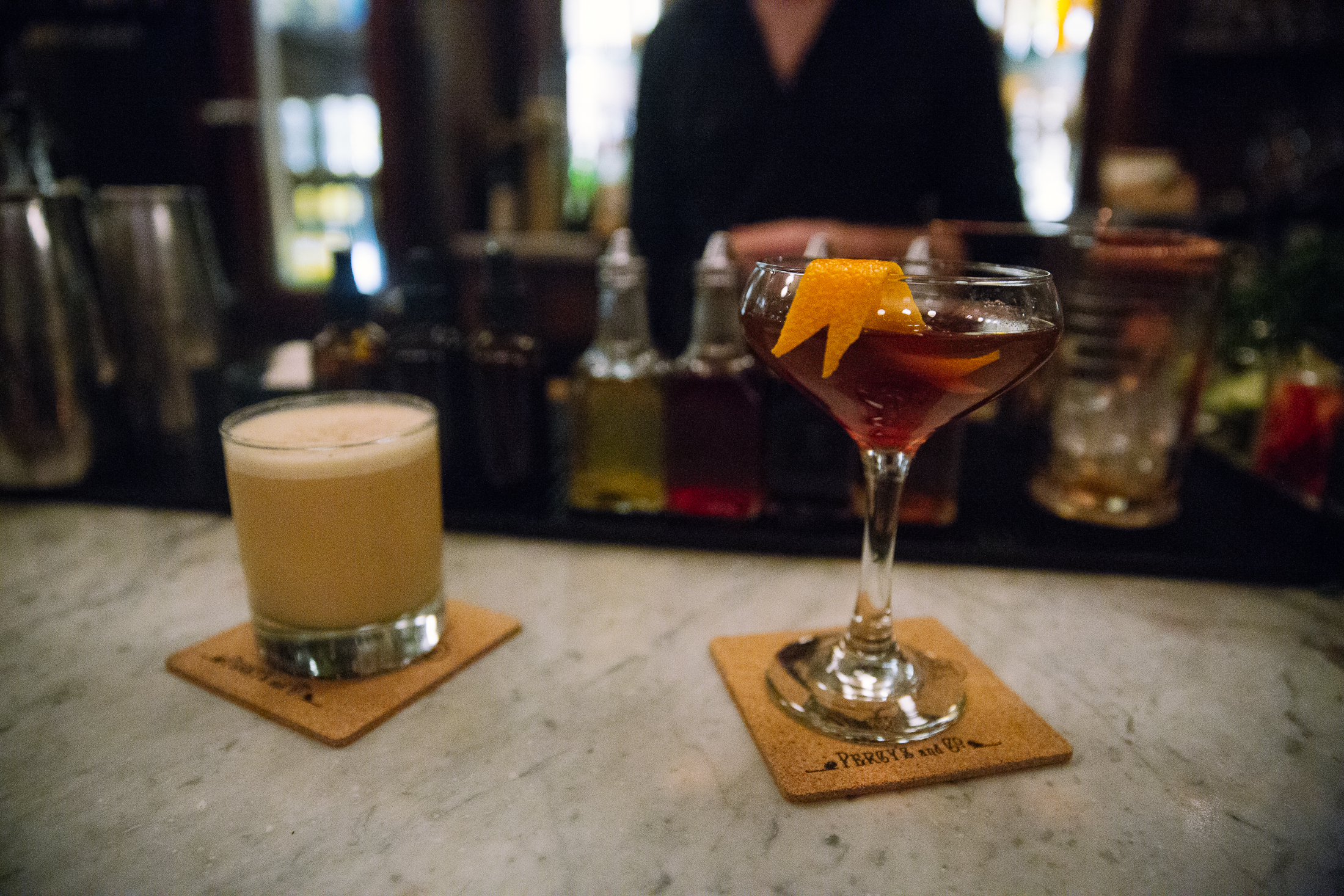 Drinks #1 and 2 of manager Bode Craig's winter recommendations. (Image: Joshua Lewis / Seattle Refined)