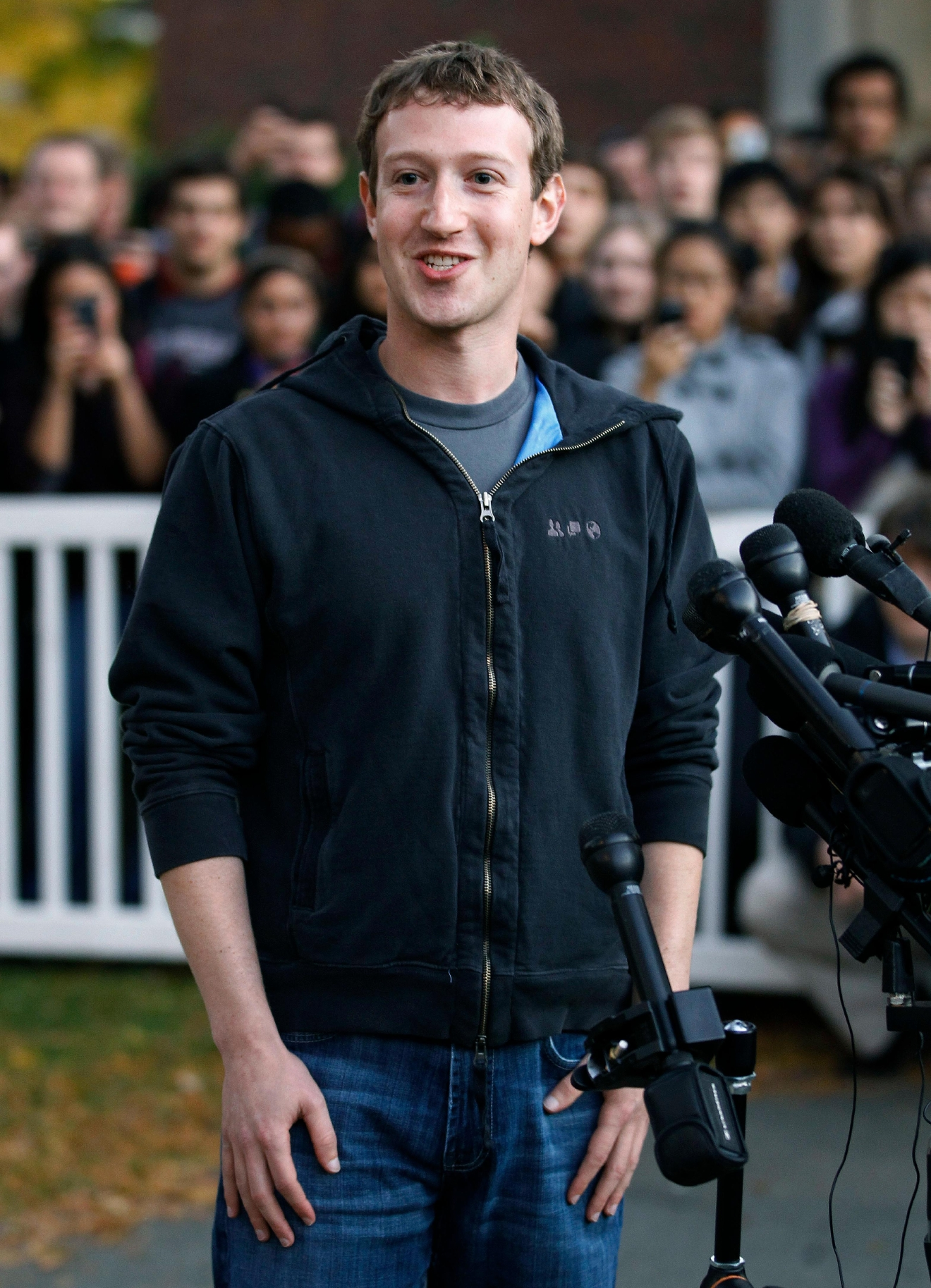 FILE - In this Nov. 7, 2011 file photo, Facebook creator and CEO Mark Zuckerberg takes questions from the media at Harvard University in Cambridge, Mass. Harvard announced Tuesday, March 7, 2017, that Zuckerberg, who went to Harvard as an undergraduate in 2002 but left after his sophomore year to pursue his company, will be the commencement speaker at the school's May 25, 2017 graduation ceremony.(AP Photo/Steven Senne, File)