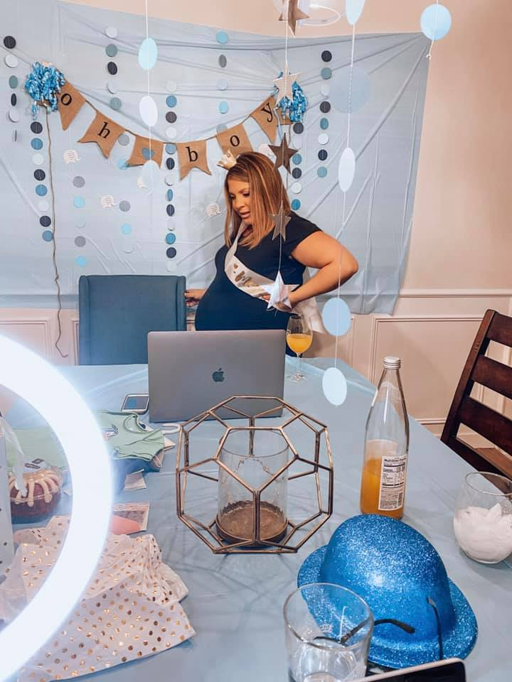 Ashley has been pregnant 9 out of the 11 months of the pandemic.{ } { }Here she celebrates baby number two with a virtual baby shower. (Image:{ }The McCain Family){ }