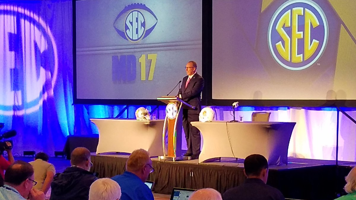 "Commissioner Greg Sankey is here and welcomes the media to ""the unofficial start to college football season.""  (abc3340.com 