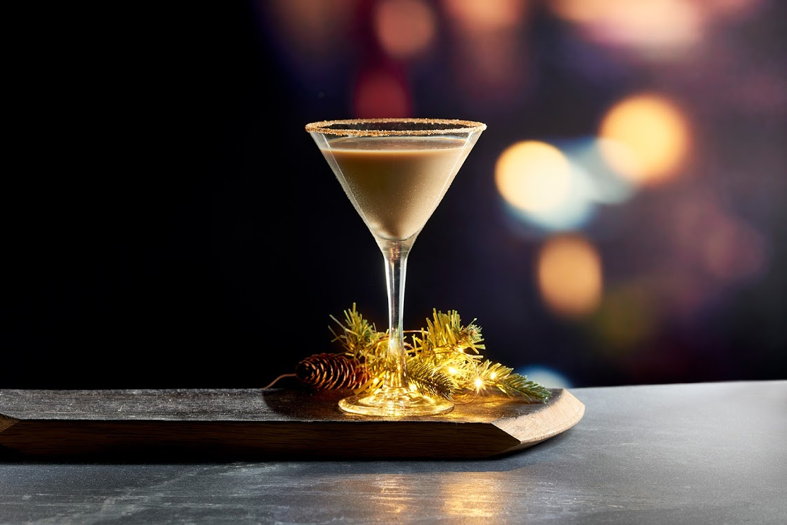 "Sip on a ""Holiday Cheer"" cocktail at Mastro's, made with Tito's vodka, Kerrigold Irish cream, Kahlua and Licor 43 in a martini glass rimmed with cinnamon, sugar and graham cracker. (Image: Courtesy Mastro's)"