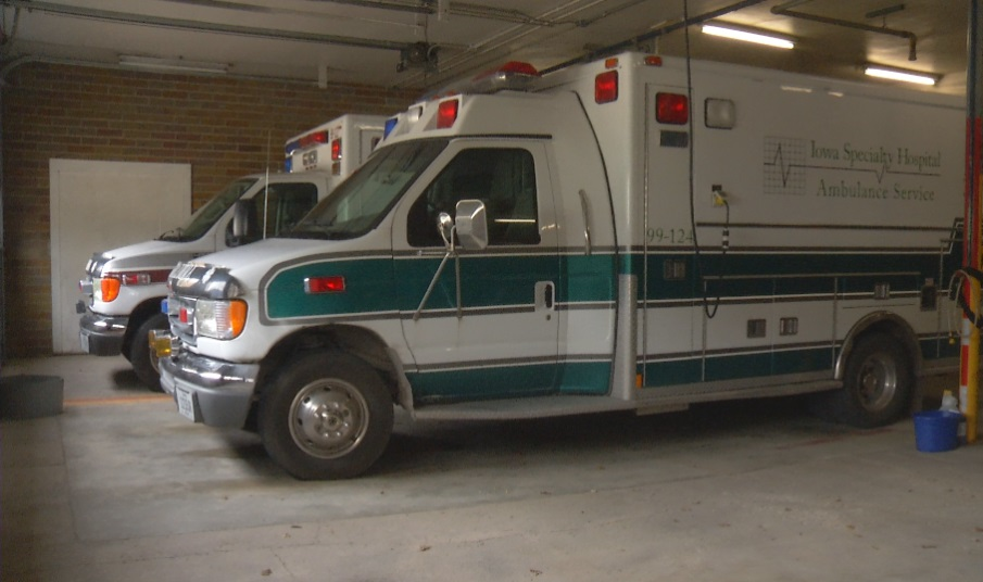 Ambulances for Iowa Specialty Hospitals pictured in the garage of the Belmond Fire Department in Wright County, Iowa.{&amp;nbsp;}<p></p>