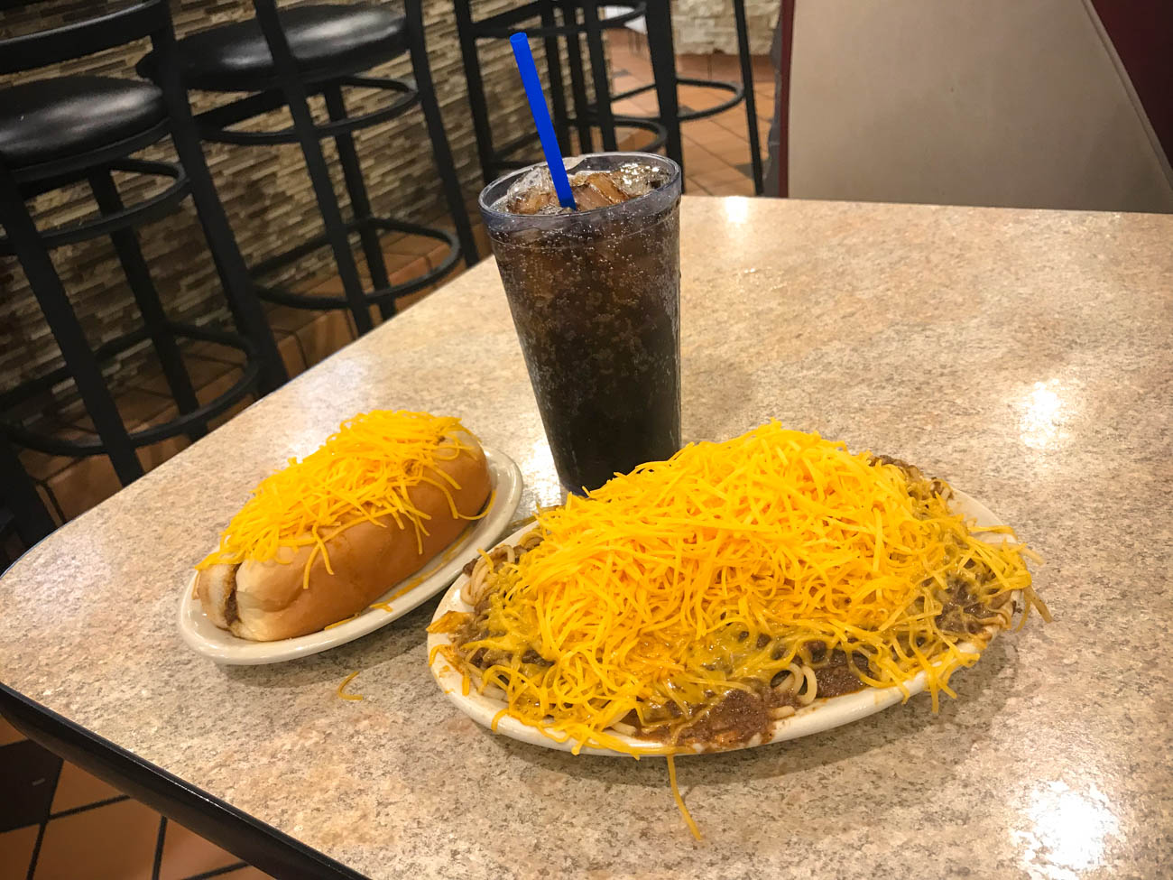 Ft. Wayne has plenty of Cheese Coneys, 3-Ways, and a cold pop to wash it all down. / Image: Katie Robinson, Cincinnati Refined // Published: 11.18.18