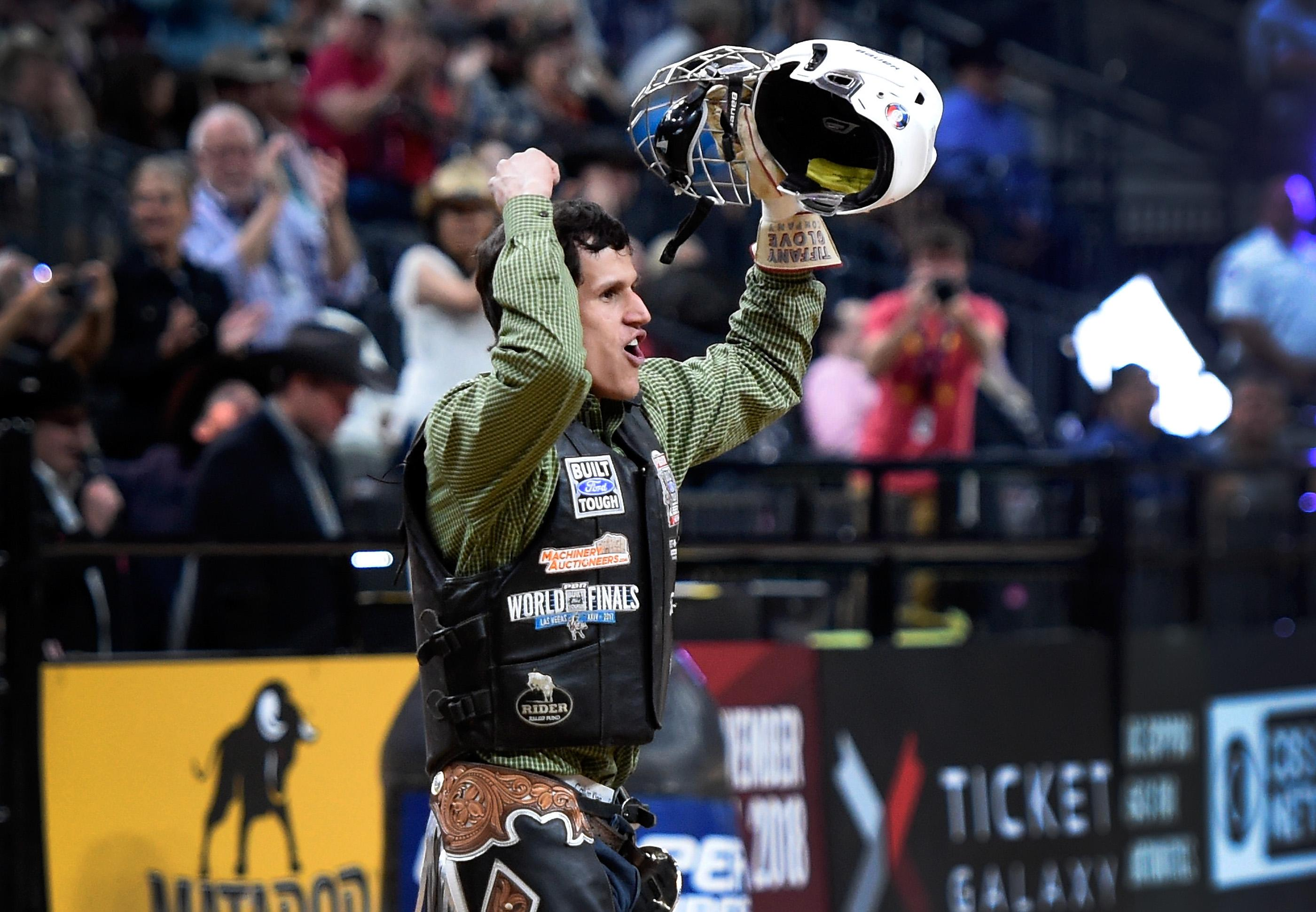 Dener Barbosa celebrates after his ride on Pearl Harbor during the PBR World Finals at T-Mobile Arena Sunday, Nov. 5, 2017, in Las Vegas. [David Becker/Las Vegas News Bureau]