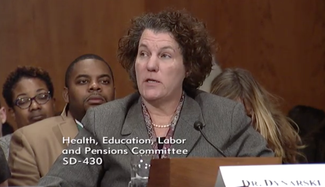 Witness and Professor Of Public Policy - Education and Economics, University of Michigan Dr. Susan Dynarski / Photo: The Senate Committee on Health, Education Labor & Pensions