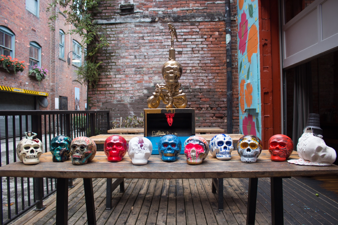 Casco Antiguo in Pioneer Square is going all out today, November 1, for Dia de los Muertos. It's not enough to be offering crazy food deals (Braised Pork Cheeks with Corn Mash, Sweet Tamale with pineapple & raisin, and Elote with spicy butter, cotija queso & chili powder - all between $7-$12) and pyscho drink deals ($6 margs, Mexican Knife Fight and $1 Jell-O shooter), but they're ALSO paying homage to local artists and showcasing 12 custom candy skulls.   Each skull has been customized by local artists and will be on display through November 3. The skulls will be auctioned off, with 50% of proceeds benefitting Urban Artworks, a Seattle-based nonprofit that provides opportunities for underserved youth and contemporary artists to create public works of art. More info at cascoantiguoseattle.com. (Image: Casco Antiguo)