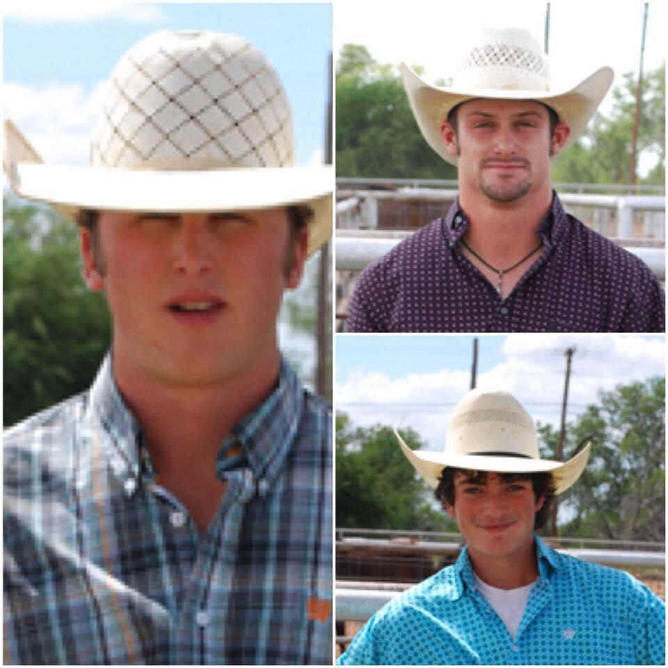 Yancie McCuiston (left), 19, of Sugar City, Colorado, was killed March 17 in a crash on Hwy 277 north of Haskell. Two of his teammates on the Vernon College Rodeo team, 20-year-old Drew Hill (top right) of Canadian, Texas, and 20-year-old Jakob Plummer (bottom right) were injured. Plummer died March 26.