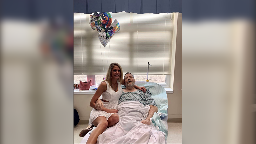 Emily French tweeted a picture of her principal, Scott Will, presenting her with her high school diploma on Monday at Mount Carmel East Palliative Care Unit. (Emily French)