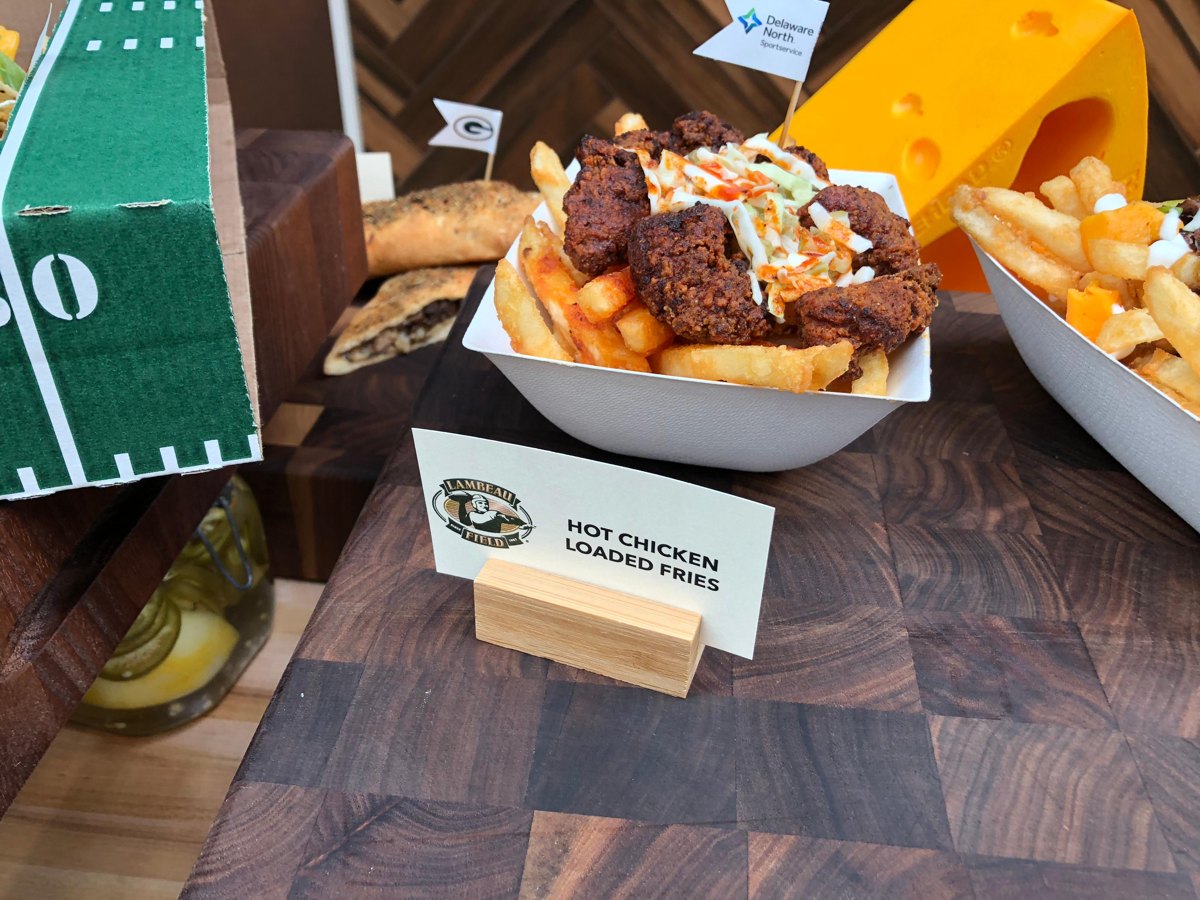 Hot Chicken Loaded Fries are part of the Packers game day menu, September 10, 2019 (WLUK/Eric Peterson)