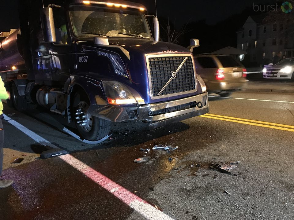 A tractor-trailer and a car collided in Pawtucket Monday, Oct. 16, 2017. (Burst photo submitted by Ida Wescott)