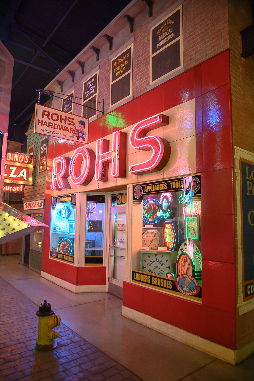 The Rohs sign and storefront is the most complete storefront in the entire museum. The hardware store used to exist on Vine Street up until 2011 when the sign and facade were collected by the museum. Today, Pontiac (the BBQ place) sits in the space where Rohs used to be. / Image: Phil Armstrong, Cincinnati Refined // Published: 1.24.20