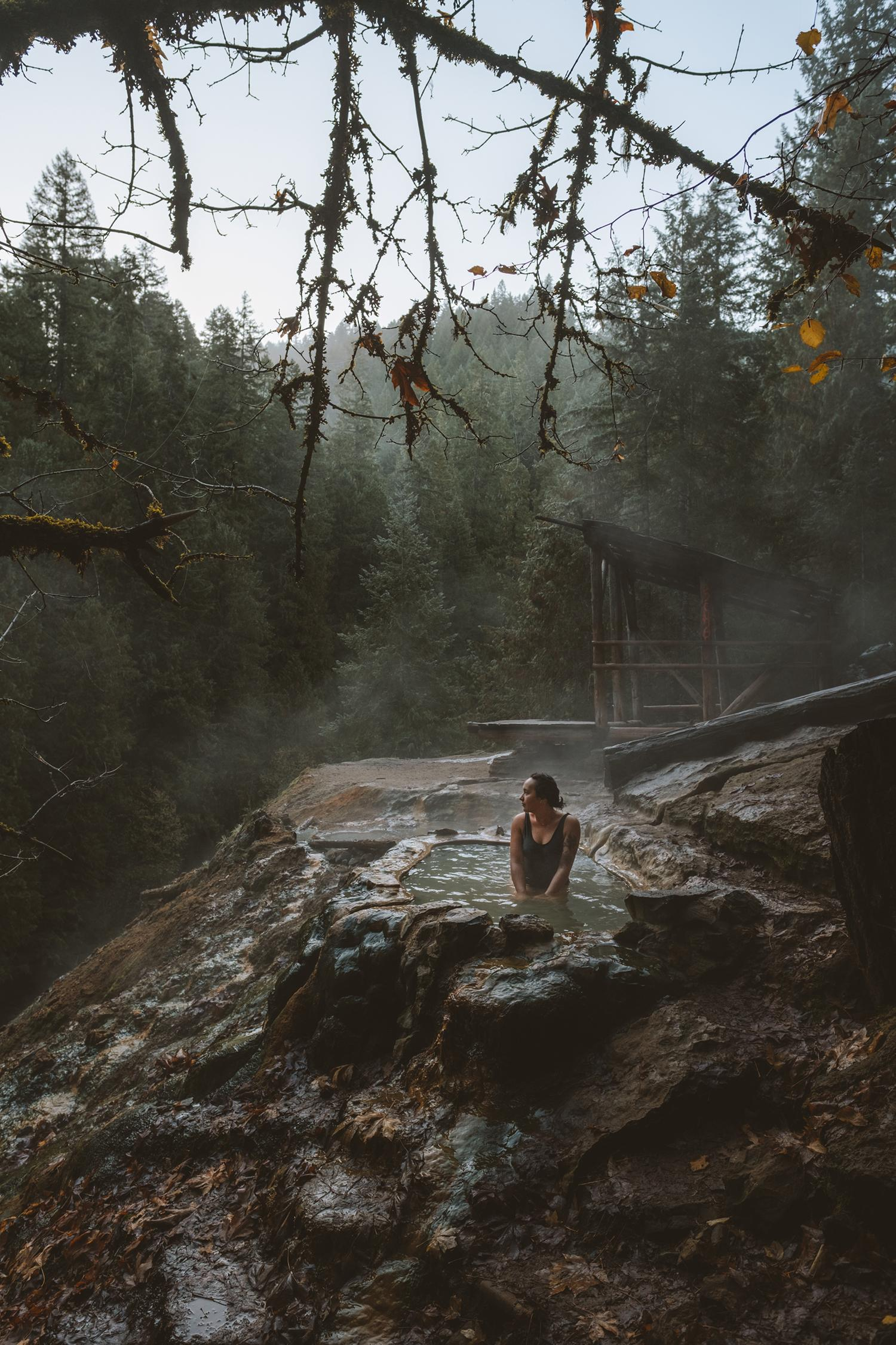 Located in the central Oregon Cascades, Umpqua Hot Springs is accessible year-round and features a multitude of hot pools (and one covered) located on a mineral deposit above the North Umpqua River. Only a 1/4 mile hike from the parking area, and on a first come first serve basis, this hot spring is sure to please visitors. Beat the crowds by coming early in the morning for sunrise, and make sure to pack out any waste! While you're at it, you might as well make a stop at Toketee Falls as well! Located roughly 10 minutes from the springs, this incredibly short hike requires very little effort for a huge reward of a gorgeous cascading waterfall. (Image: Ryan McBoyle / Seattle Refined)