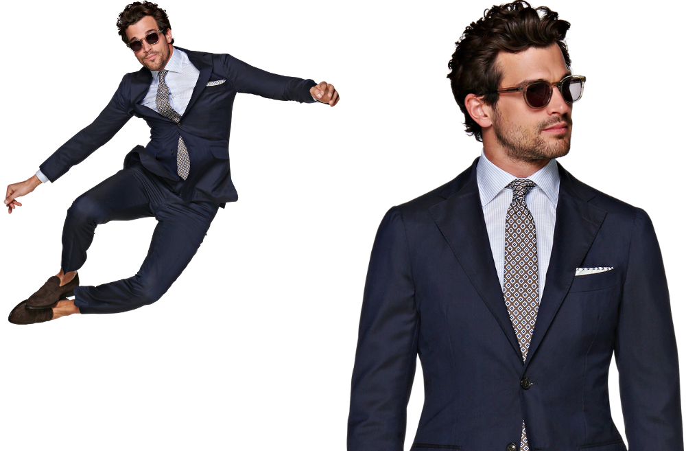 "I've personally never worn a suit but I can imagine how those bad boys could sometimes weigh you down. BUT!&nbsp;<a href=""https://us.suitsupply.com/en_US/suits/havana-navy--suit/P5654I.html?pdp=true"" target=""_blank"" title=""https://us.suitsupply.com/en_US/suits/havana-navy--suit/P5654I.html?pdp=true"">Suit Supply just released their lightest suit yet - unlined and completely unconstructed, the World's Lightest Suit</a>&nbsp;reimagines their Havana fit to make it breaaaaathe. ""Alongside staples like flap pockets, notched lapels and a pleated shoulder, the suit is elevated with refined accents like full AMF stitching and genuine horn buttons on the jacket, while the accompanying flat-front trousers feature side adjusters and a straight leg—The result is a remarkably breathable and lightweight wear that doesn't skimp on the classic suiting touches."" The suit weights 1.15 lbs compared to the average 2.27 lbs suit. (Image courtesy of Suit Supply)."