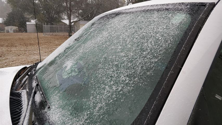 Ice on a car near Florence (Jordan Brotherton/WPDE)