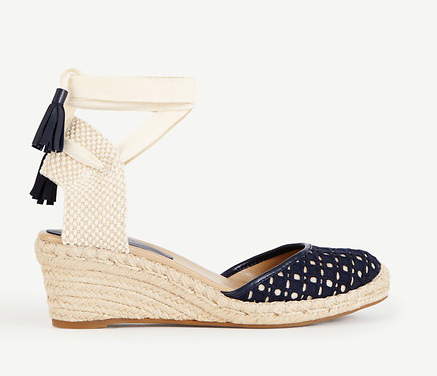 Lastly, any outdoor shindig calls for wedges to avoid getting heels stuck in the grass! Cally Eyelet Espadrille Wedges , $138, anntaylor.com (Image: Courtesy Ann taylor)