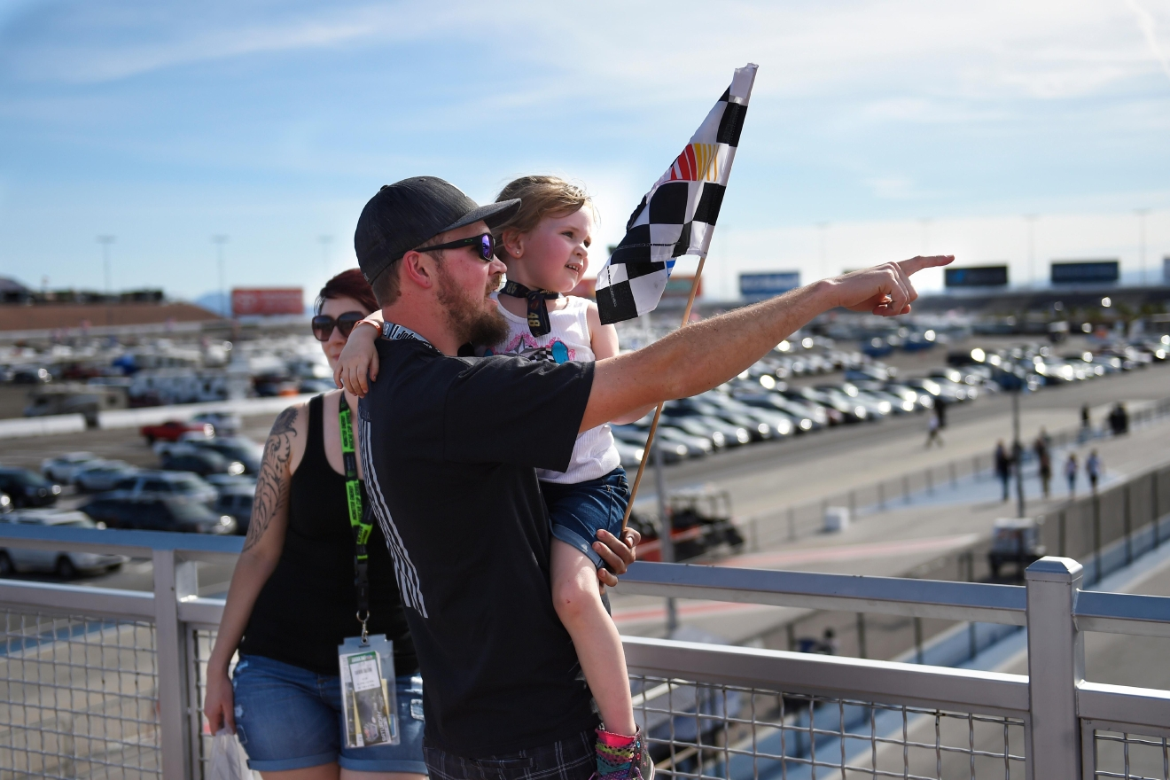 A young family watches the action during the NASCAR Xfinity Series Boyd Gaming 300 Saturday, March 11, 2017, at the Las Vegas Motor Speedway. (Sam Morris/Las Vegas News Bureau)