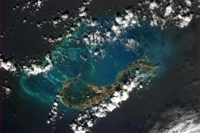 Bermuda is beautiful, both above and below the sea.  (Photo & Caption: Col. Chris Hadfield, NASA)