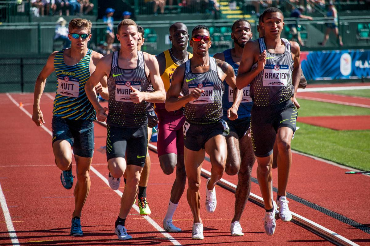 Hoka�s Mike Rutt, Clayton Murphy, Nike�s Brandon Johnson, and Donovan Brazier compete in the fourth heat of the prelims for the men�s 800 meter run. Murphy and Johnson  qualified for the finals on Thursday with 1:47.61 and 1:47.62. Day One of the U.S. Olympic Trials Track and Field began on Friday at Hayward Field in Eugene, Ore. and will continue through July 10. Photo by Katie Pietzold