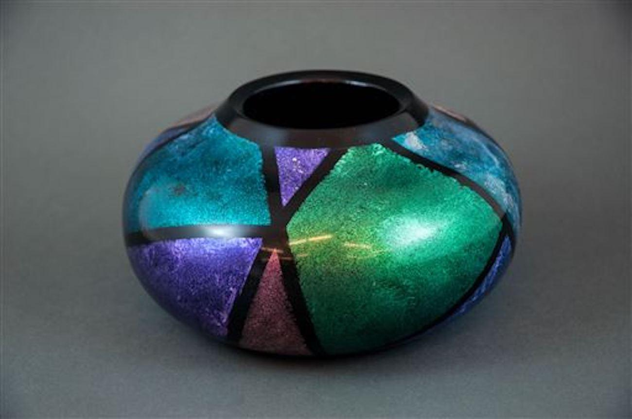 """Rethinking"" by Nancy Bowman, a 16-year woodturning veteran / She turned and hollowed it on the lathe, then hand-painted it using Jo Sonja iridescent paint over black gesso.{ }The name is fitting because the bowl started out in a South Western design, but Nancy didn't like it and changed it. Then she changed it again. / Image: Nancy Bowman{ }// Published: 4.18.19"