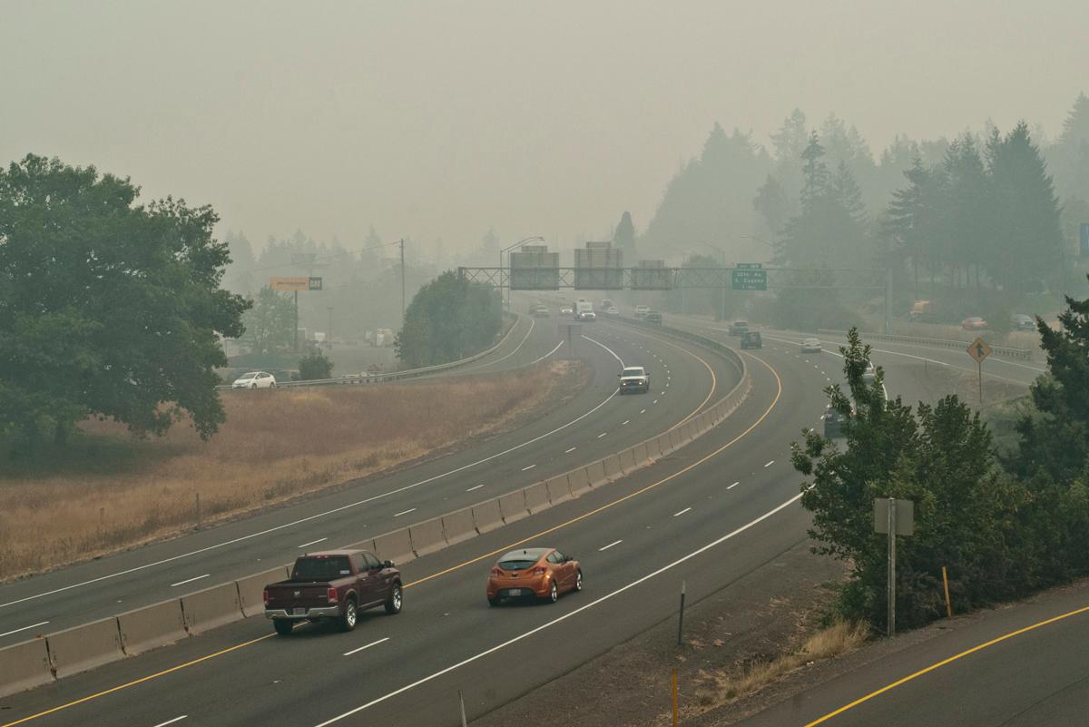 Highway I-5 looking south from the Glenwood overpass at noon on Sunday. The smoke is from several nearby forest fires. Photo by Dan Morrison, Oregon News Lab