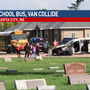 Mini-van and school bus collide