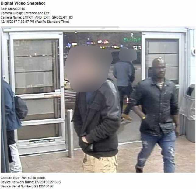 Police are seeking a man in a suspected groping in Walmart. Security cameras show him. He is described as a black man in his 30s. He is about 6 feet tall with a slim build. He was wearing a black leather jacket, dark skinny jeans with holes in the front and back pockets and loafer-style shoes. (Photo from Renton Police Department)