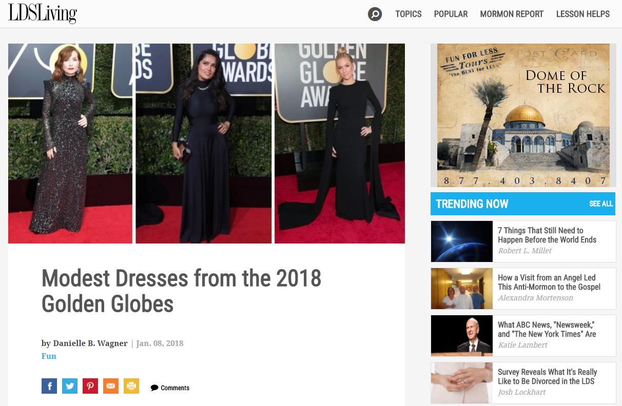 LDS Living article on modest dresses at the Golden Globes raises eyebrows (Photo: KUTV)<p></p>