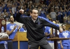 In this April, 2015, file photo, Duke coach Mike Krzyzewski reacts during a homecoming celebration for the national championship Duke basketball team at Cameron Indoor Stadium in Durham, N.C.