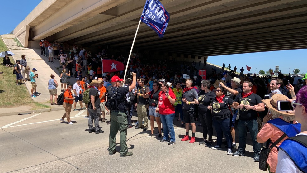 """""""Close the concentration camps,"""" hundreds protest migrant children being held at Fort Sill"""