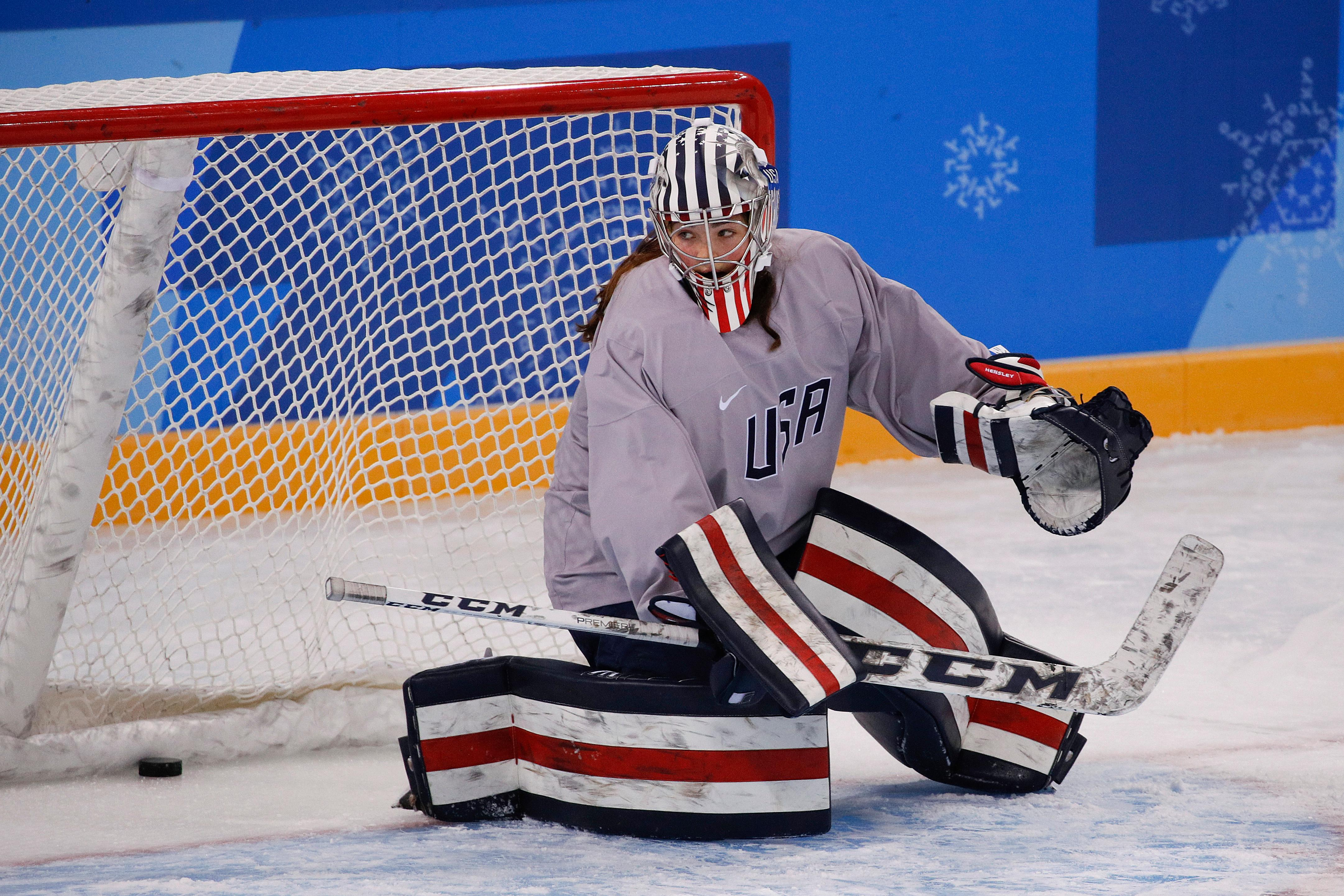 United States goalie Nicole Hensley guards her net during a training session prior to the 2018 Winter Olympics in Gangneung, South Korea, Sunday, Feb. 4, 2018. (AP Photo/Jae C. Hong)