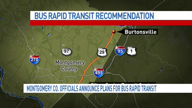 Montgomery County bus rapid transit recommended route. (ABC7 photo)