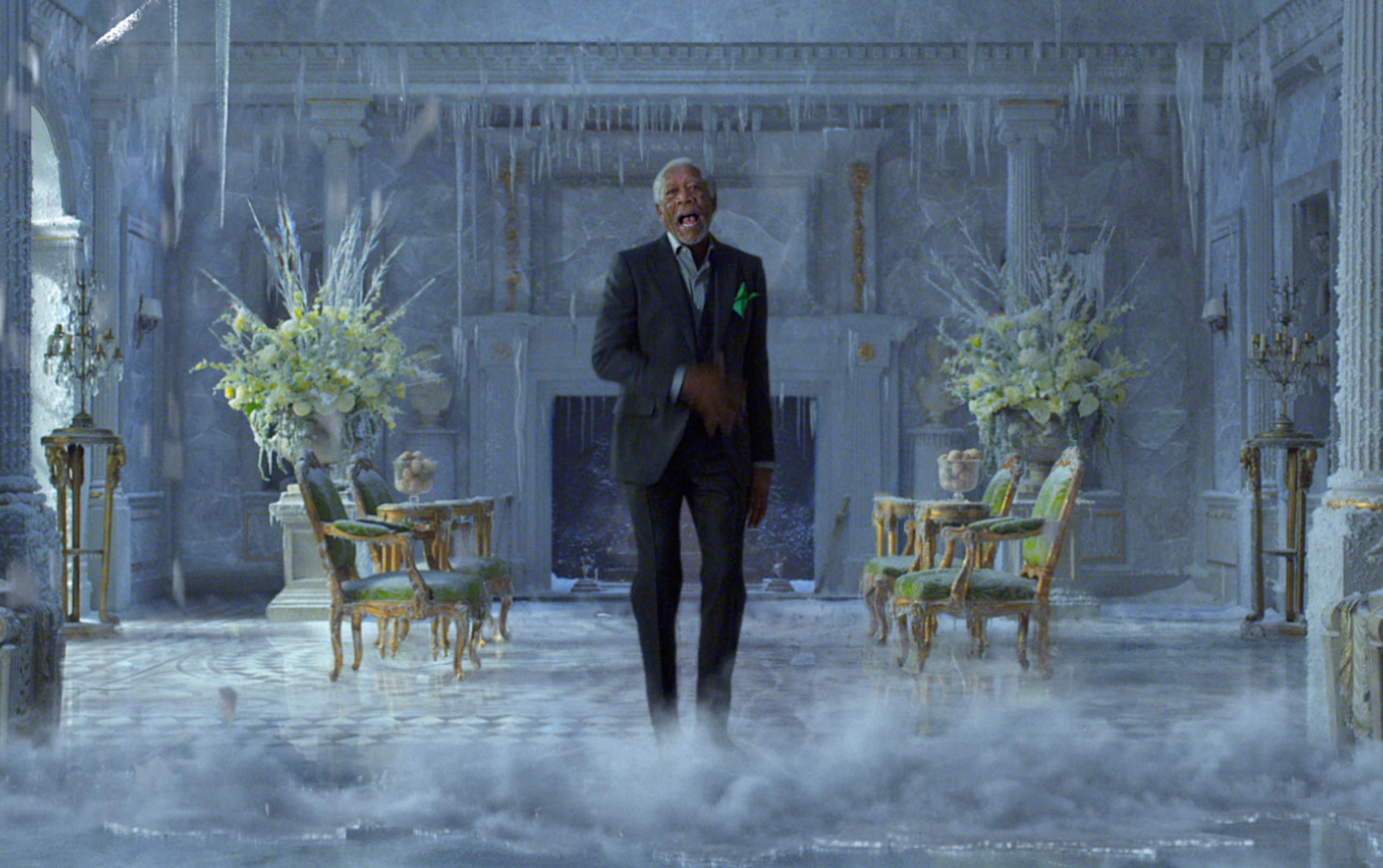 This photo provided by PepsiCo shows Morgan Freeman in a scene from the company's Mountain Dew Ice Super Bowl spot. For the 2018 Super Bowl, marketers are paying more than $5 million per 30-second spot to capture the attention of more than 110 million viewers. (PepsiCo via AP)